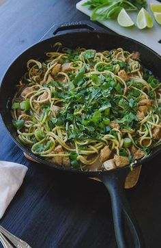 Chicken Satay Skillet With Zucchini Noodles & Peanut Sauce // soletshangout.com #glutenfree #grainfree #thaifood #paleo #primal #onepotwonde...
