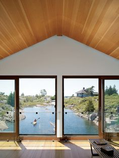 ... Worple floating house on Lake Huron, Canada ... living room view