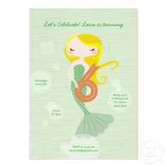 Sweet Mermaid Birthday Invitation - 6 Year Old