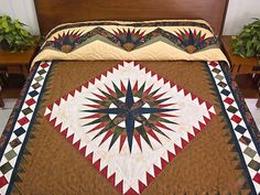 Mariners Compass Quilt -- outstanding carefully made Amish Quilts from Lancaster (hs5435)