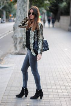 Love the sequin jacket and the booties! #sequins #outerwear #boots #Chanel #effortless #weekend #casual #chic #style #outfit #fashion #onthego #sparkle