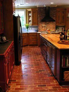decor, brick wall, brick flooring, futur kitchen, dream kitchen, bricks, kitchen ideas, kitchen brick floor, kitchen floor