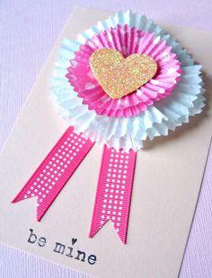 #Valentine's Day #pink #cupcake liner #tags #cards #DIY #crafts #kids  ToniK ⒷMine www.urbancomfort.typepad.com/urban_nest/2010/01/cupcake-liner-cards.html