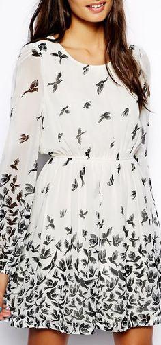 bird print dress