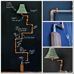 anthro-inspired industrial pipe lamp