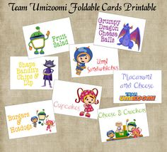 Team Umizoomi Birthday Party Foldable Cards by GirlyMommaDesigns, $5.00