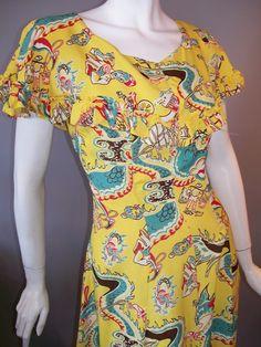 40s rayon Asian print dress