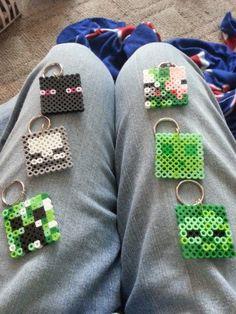 Minecraft perler bead keychains set of 6