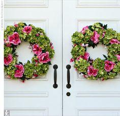 back doors, peoni wreath, front doors, spring wreaths, hydrangea, church door, floral wreaths, flower, pink peonies