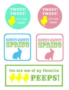 Cute!  Free printable tags for Easter