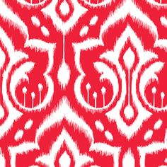 Ikat Damask - Holly Berry Red fabric by pattysloniger on Spoonflower - custom fabric