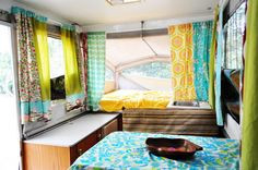 Colorful pop-up camper curtains