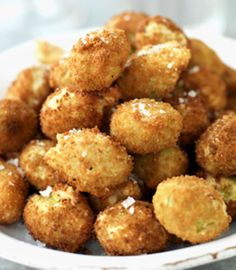 Crispy Stuffed Olive Snacks - Small crispy stuffed olives. Suitable as a snack or on the antipasti table with the cool wine. The olives must be soft and juicy for them to be able seeded and filled.