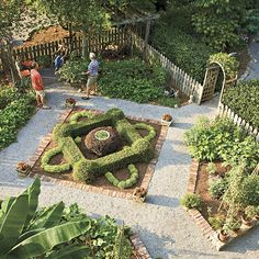 Pretty Vegetable Garden - Southern Living Geometrically shaped beds edged in brick and connected by crushed limestone gravel paths.