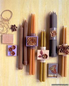 Taper Candles ~ For a unique fall (or anytime!!) gift, wrap tapers in vellum; dress up with blossoms or a matchbox covered with paper, florets, and real leaves. Tie box to candles with a cord threaded through the box's underside. Fall Favors, Tapered Candles, Parties Favors, Colors Schemes, Gift Cards, Favors Ideas, Fall Weddings, Fall Wedding Favors, Hostess Gifts