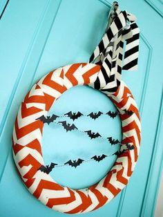 halloween chevron, fall, halloween crafts, bat, chevron wreath