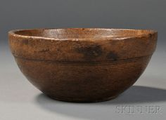 Burl Bowl, America, 19th century, round turned bowl with incised lines about the collar, ht. 3 7/8, dia. 9 in.