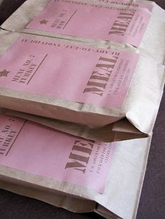 MBC: ARMY Party MRE Printables--- Would be cute for the goodie bags!