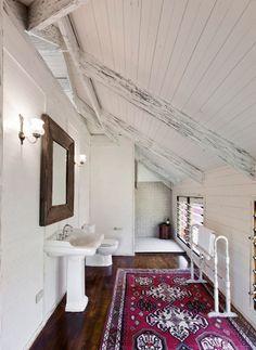 bathroom slanted ceilings #interior #home #rustic #River house