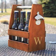 Engraved Wooden Six Pack Beer Holder - fun groomsman gift idea
