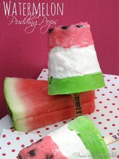 Fun watermelong pudding pops - perfect for summer!