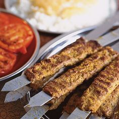 Persian Ground Meat and Onion Kebabs (Kebab Kubideh or Chelo Kabob)  Recipe -  This is our adaptation of a popular Iranian dish made with beef, lamb, and a pinch of saffron. -Saveur.com