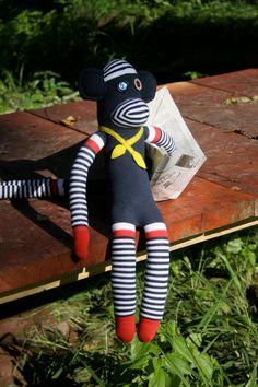 Hans. Handmade by me! #sockmonkey #sailor #ascot