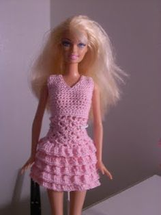 Crochet for Barbie (the belly button body type): Pink Ruffled Short Skirt