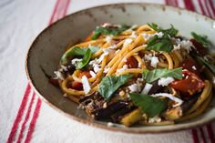 Pasta alla Norma with sauteed eggplant and slow-roasted tomatoes