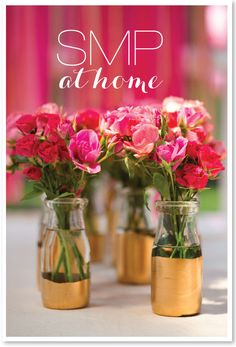 gold painted vases