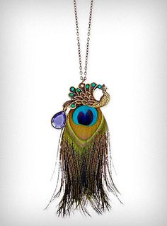 Peacock Charm & Feather Necklace | PLASTICLAND