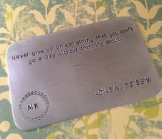 Wallet Insert Card - Aluminum - 10 Year Anniversary - Copper - 7 Year Anniversary - Personalized - Up To 220 Characters - FOR HIM on Etsy, $18.00