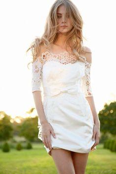 Silk satin mini bridal dress from Hayley Paige