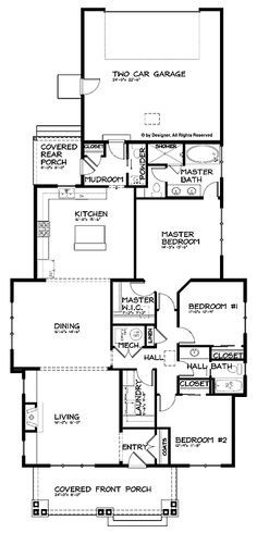 Single-Story Bungalow with Open Floor Plan (HWBDO67247) | Craftsman House Plan from BuilderHousePlans.com