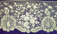 Honiton lace in the form of a flounce to be utilized on a wedding gown