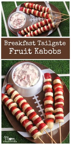 Easy & Healthy Breakfast Tailgating Fresh Fruit Kabobs - use fruit with your school's colors for added team spirit via momendeavors.com! #football #tailgating #beanitos #footballfood