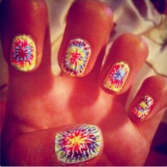 Release your inner hippy with this cool Tie-Dye Nail Design!  #NailPolish