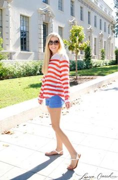 love this casual outfit (perfect for the 4th of july too) and its totally a louis outfit!