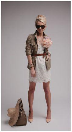 lace dress + cargo jacket + HUGE flower pin