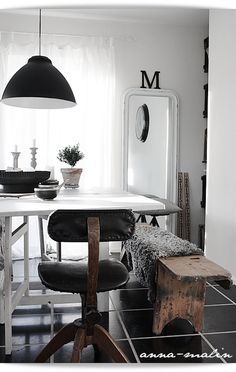 #interior #styling #dining #decor #scandinavian #recycled #natural #bench #lamp #sheepskin #tiles