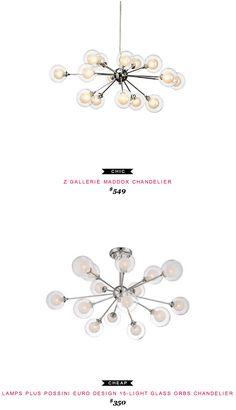 Z Gallerie Maddox Chandelier $549  -vs-  Lamps Plus Possini Euro Design 15-Light Glass Orbs Chandelier $350