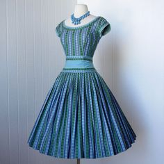 Vintage 1950 - A refreshingly simple design with full, gathered skirt and a beautiful wide waistband... full skirts, party dresses, blue, 1950s dresses, vintage party, cocktail dresses, pat premo, vintag 1950, parti