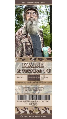 Duck Dynasty Party Ideas! For Kade's birthday! Thought these were too