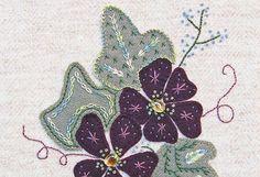Jacobean Flower Wool Applique Hand Embroidery by ThreeSheepStudio, $9.00