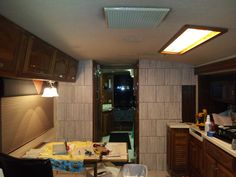Motorhome - Removed the beveled mirrors and put tile up!!!  Still need to grout it but it looks so much better