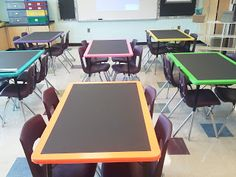 Love this idea!  Paint the tops of the tables with chalkboard paint.  Can't paint the tabletops?  Try painting a piece of thin laminate that's been cut to the size of the tabletop and tape it on!