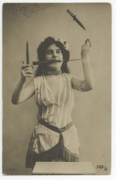 Knife thrower, The Netherlands, 1906.    #circus #vintage by corinne