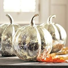 Spray painted pumpkins.