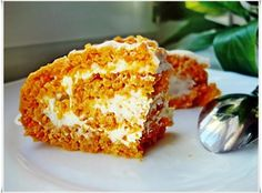 Carrot roll with cottage cheese and yogurt filling