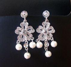 Bridal chandelier earrings crystal drop earrings by crisana01, $11.00